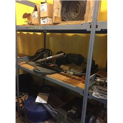 3 SHELVES OF FIRE HOSE , HYDRAULIC PUMP, AND MORE