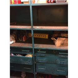 "GREEN METAL 2 DOOR CABINET WITH DRAWERS, AND CONTENTS, MEASURES 70""H X 48""W X 20""D"
