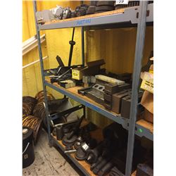 3 SHELVES OF ASSORTED TOOLING, GEARS, AND MORE