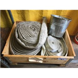 5 BOXES OF ASSORTED SIZE SUPER WOOL INSULATION, AND BOX OF FIREHOSE