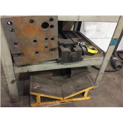"""2 TIER 35""""H X 23""""L X 27""""W 2 TIER METAL SHELF WITH VISE, AND ASSORTED METALS"""