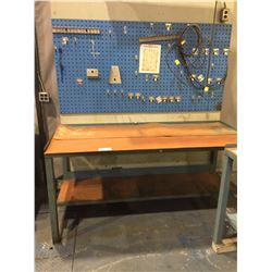 "2 TIER WORKBENCH 34""H  X  72""W  X  30""D WITH METAL PEGBOARD AND LIGHT"