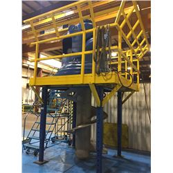 BLUE AND YELLOW ADJUSTABLE METAL WORK PLATFORM (HOUSING NOT INCLUDED)