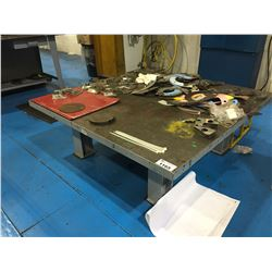 "2"" THICK 22""H X  60"" X 60""  HEAVY DUTY WORK TABLE (CONTENTS NOT INCLUDED)"