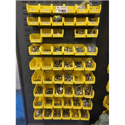 LOT OF ASSORTED BINS WITH STAINLESS STEEL , BOLTS, WASHERS, NUTS AND MORE
