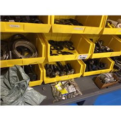 8 BINS WITH ASSORTED BOLTS, WASHERS AND NUTS, AND MORE, INCLUDES BOLTS AND HARDWARE ON BOTTOM OF