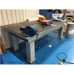 """STEEL WORK TABLE  34"""" X 95"""" X 48""""W , INCLUDES RECORD #6 VISE"""