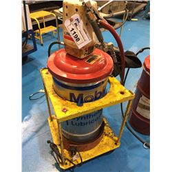 LINCOLN PNEUMATIC GREASE PUMP WITH YELLOW MOBILE CART