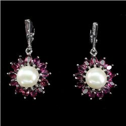 Natural Rhodolite Garnet Pearl Earrings