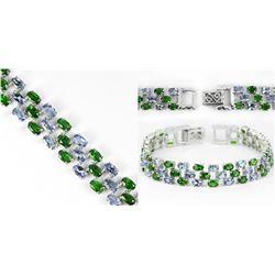 Natural Tanzanite & Green Chrome Diopside Bracelet