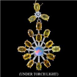 Natural Yellow Sapphire & Opal  Pendant
