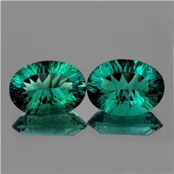 Natural Emerald Blue Green Fluorite Pair 34 Ct - FL
