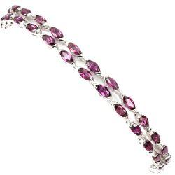 Natural Marquise Pink Rhodolite Garnet  Bracelet