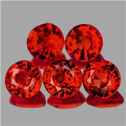 Natural AAA Red Orange Sapphire 5 Pcs{Flawless-VVS}