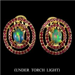 Natural Untreated White Opal & Ruby Earrings