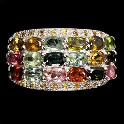 Natural Tourmaline Multi-Color Sapphire Ring