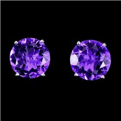 Natural Unheated Round Amethyst 10 MM Earrings