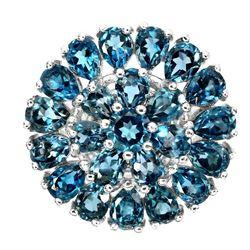 Natural Stunning London Blue Topaz Ring