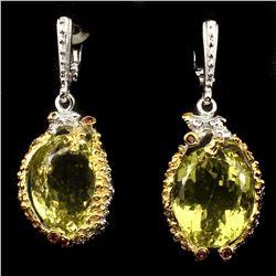 Handmade 17x15mm Lemon Quartz Rhodolite Garnet Earrings