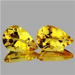 Natural Golden Yellow Citrine Pair{Flawless-VVS1}