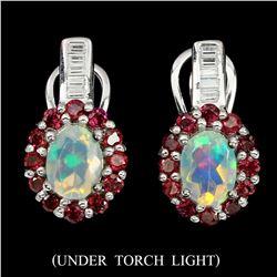 Natural Unheated Oval Opal Rhodolite Garnet Earrings