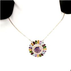 Natural Amethyst & Multi Gemstones Necklace