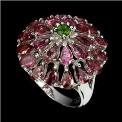 Natural Pink Tourmaline, Chrome Diopside Ring