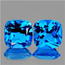 Natural Brilliant Swiss Blue Topaz Pair [Flawless-VVS]