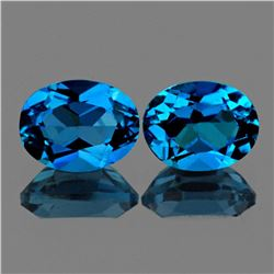 Natural  AAA London Blue Topaz Pair {Flawless-VVS1}