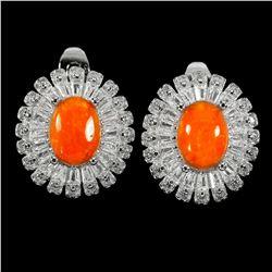 Natural  Orange Fire Opal 8x6 MM Earrings