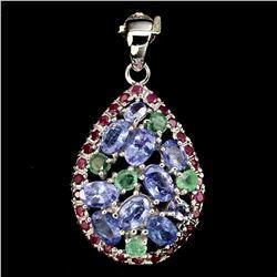 Natural Blue Tanzanite Emerald & Ruby Pendant