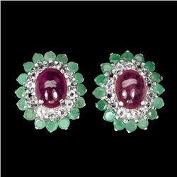 Natural Emerald, Ruby & White Topaz Earrings