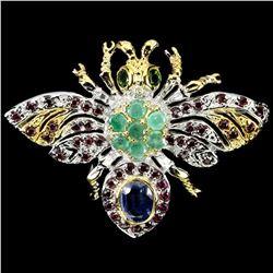 Natural Colombian Emerald & Rhodolite Garnet Brooch