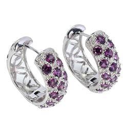 Natural Round Rhodolite Garnet Earrings