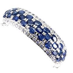 Natural Blue Sapphire 6x4 MM & Tanzanite Bangle