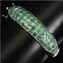 Natural Colombian Green Emerald 4x3 MM Bangle