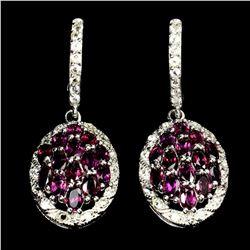 Natural Unheated Oval Rhodolite Garnet Earrings