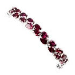 Natural  7x5mm Pink Raspberry Rhodolite Garnet Bracelet