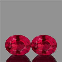 Natural Oval AAA Fire Red Mozambique Ruby Pair