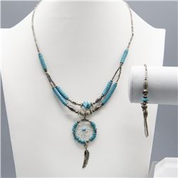 TURQUOISE BEAD NECKLACE AND BRACELET SET