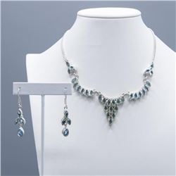 SWISS BLUE TOPAZ 159 CTTW NECKLACE AND EARRING SET