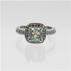 Stunning 3 Ct Emerald Green Colored Diamond Ring.