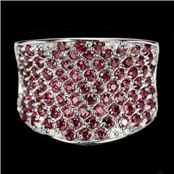 Natural Unheated Round Rhodolite Garnet Ring