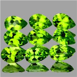 Natural Pear Green Peridot 9 Pcs{Flawless-VVS1}