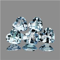 NATURAL WHITE AQUAMARINE HEARTS 5 Pcs [IF-VVS]