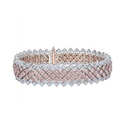 Natural Rare Untreated Pink & White Diamond Bracelet