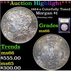 ***Auction Highlight*** 1884-o Colorfully Toned Morgan Dollar $1 Graded GEM+ Unc By USCG (fc)
