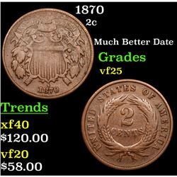 1870 Two Cent Piece 2c Grades vf+