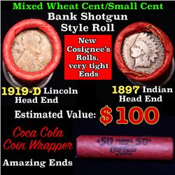 Mixed small cents 1c orig shotgun roll, 1919-d Wheat Cent, 1897 Indian Cent other end, Coca Cola Wra