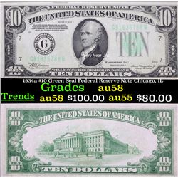 1934a $10 Green Seal Federal Reserve Note Chicago, IL Grades Choice AU/BU Slider